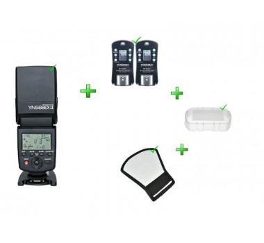 Kit Flash YONGNUO YN-568EXII+Rebatedor+Difusor+Rádio Flash RF-605C